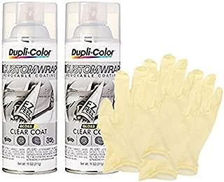Dupli-Color Clear Coat Custom Wrap (11 oz) Bundle with Latex Gloves (6 Items)