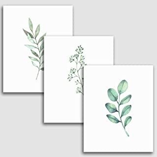 8x10 Inches Botanical Wall Prints (Set of 3), Plants Art for Your Home Decor, Greenery Decorations for Kitchen, Bathroom, Bedroom, and More