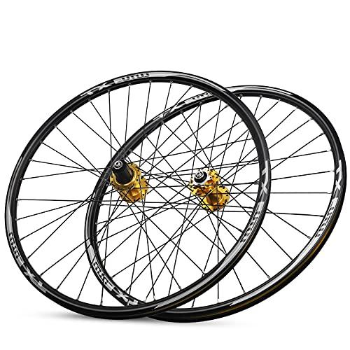 TANGIST Juego de Ruedas de Bicicleta 26' Juego de Ruedas de Bicicleta de Montaña Aleación de Liberación Rápida Disco Freno de Rodamiento Sellado 8 9 10 11 Velocidad Volante (Color : Yellow)