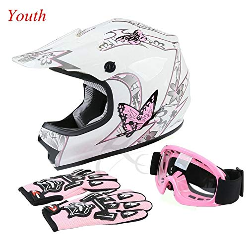 TCT-MT Youth Kids Helmet DOT w/Goggles +Gloves Pink Butterfly ATV Dirt Bike Motocross Helmet Gloves Goggles S~XL (Small)