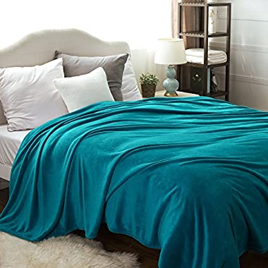 Bedsure Flannel Fleece Luxury Blanket Teal Queen Size Lightweight Cozy Plush Microfiber Solid Blanket