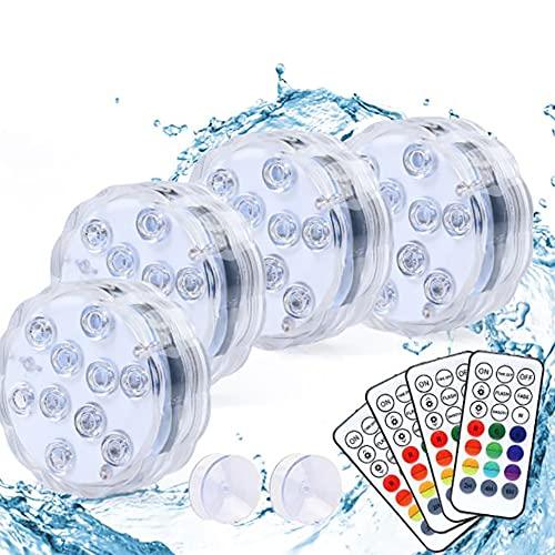 4 szt. Zatapialne światła LED, wodoodporne wielokolorowe światła herbaty z pilotem, zbiornik rybny Dekoracyjne podwodne światło, działanie baterii, na imprezę zdarzeń staw oświetlenie