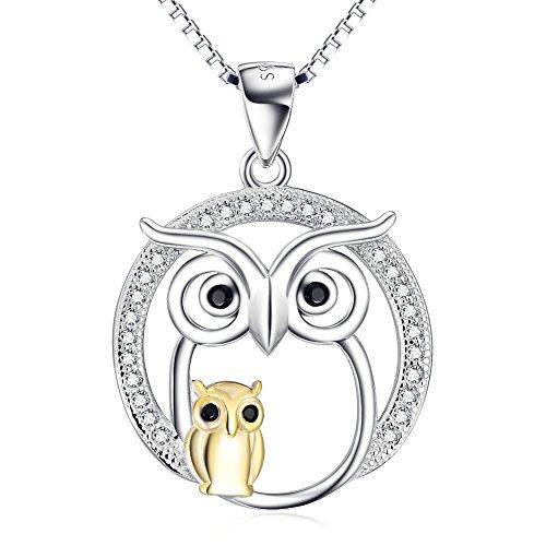 YFN 925 Sterling Silver Lucky Two Tone Owl Pendant Neckalce Jewellery for Women Girls