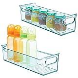 mDesign 2er-Set Kinderzimmer Organizer – Sortierbox mit praktischen Griffen, ohne Deckel – BPA-freier Kunststoffbehälter mit großem Fach für Spielzeug, Windeln, Stofftiere & Co. –...
