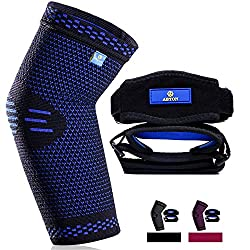 small Compression sleeve with new technology for elbow (1 pack) + tennis elbow support (2 pack), better elbow support …