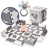"""LA CHUPETA Baby Play Mat Puzzle Mat with Fence, Thick (0.56"""") Interlocking Floor Mats, Ideal for Tummy Time Mat Baby Play Area Protect Infants and Toddlers with Colorful Teether"""