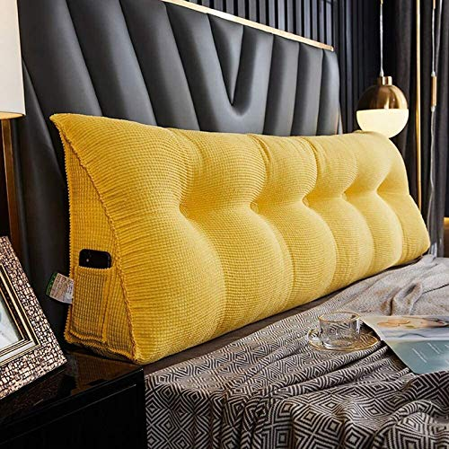 DINGZHONG Wedge Shaped Reading & Bed Rest Pillows, Soft Triangle Cushion Pillow for Back Support and Comfort, Rest Reading Pillow Perfect for Reading/Watch TV, (Color : Yellow, Size : 150x25x50cm)