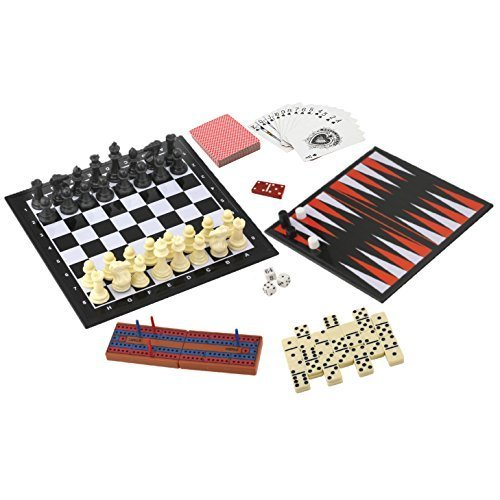 Best 7 in 1 Travel Game Set Adult Kids Man Men Checkers Chess Dominoes Backgammon & Many More Summer Travelers Gift by TableTop Games