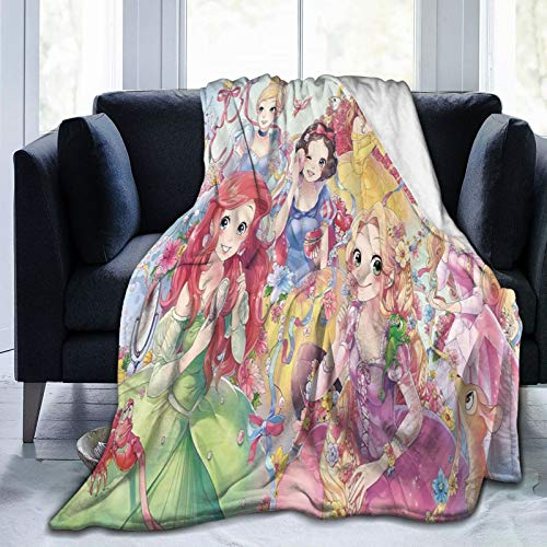Manta de forro polar de princesa, tamaño doble/doble, extra grande, manta de forro polar, súper suave, mullida, de franela para sofá, 125 x 150 cm