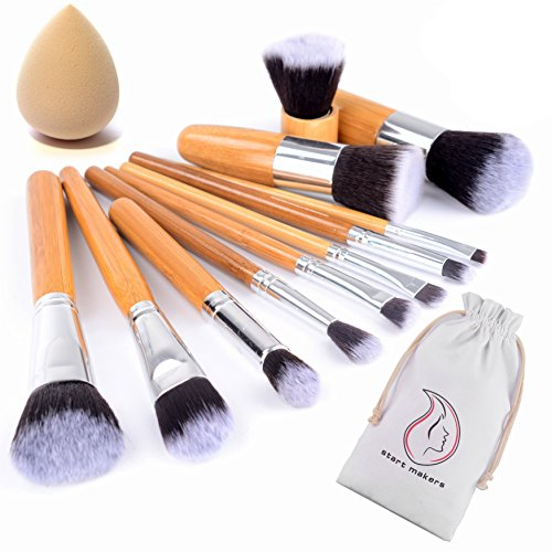 Pennelli Make up in Bambù - 12 pennelli trucco naturali - Set di pennelli trucco vegan - Start Makers Pennello Kabuki - pennelli make up professionali - estremamente soffici - spugna trucco