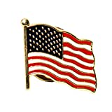 US FLAG LAPEL PIN | Full 50 Stars | BRASS / 24K Gold Plated | MADE IN USA from LUCKY SHOT