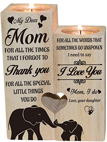 QKFON Wooden Candle Holder, To My Dear Mom Heart-shaped Craft Candlestick Stand, Candle Holder Shelf Daughter to Mom Gift for Mother's Day Birthday (5)