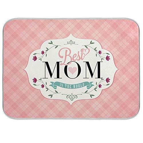 Tapis de séchage à vaisselle Microfibre de comptoirs de cuisine Dry Pad Protector 16 x 18 pouces Fête des Mères Rose Rétro Plaid