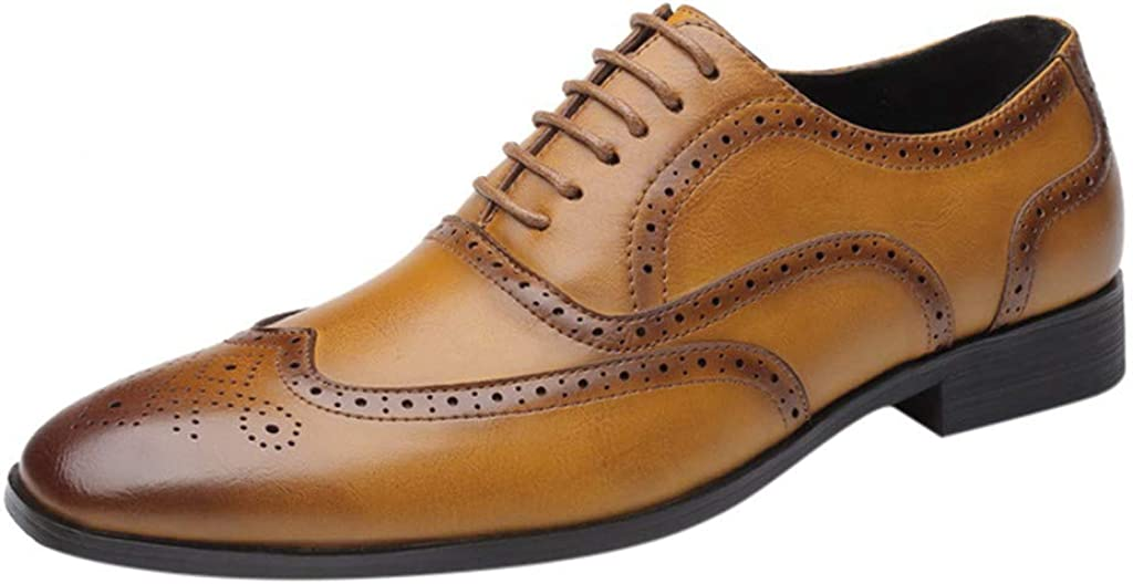 RQWEIN Men's Dress Shoes Leather Oxford Shoes for Men Comfortable Classic Modern Wedding Shoes Casual Leather Shoes