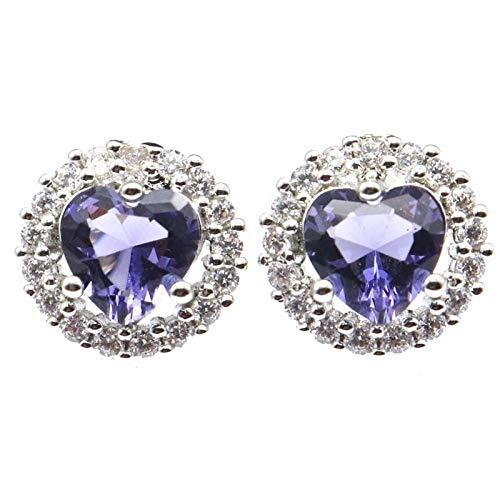 Aretes 12x12mm Bonito Corazón Creado Púrpura Espinela Verde Peridoto Circón Brillante Para Mujeres Uso Diario Pendientes De Plata