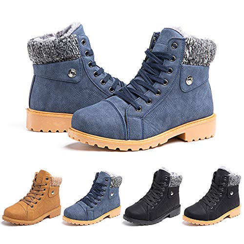 Ladies Ankle Boots Womens Fur Lined Snow Shoes Winter Combat Boot Warm Lace Up Outdoor Plat PU Leather Booties Comfy Fashion Black Grey Brown 3.5-9 UK