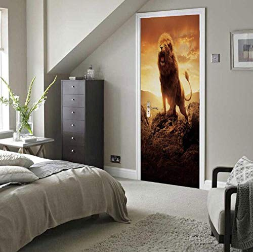 Sticker Mural3D Deur Sticker Lion King Brult Kunst Mural Mural Behang DIY Poster Sticker zelfklevende afneembare deur Sticker 77X200 Cm