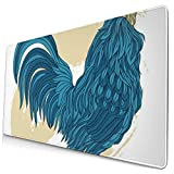 Large Mouse Pad Dark Blue Rooster in Line Art Style Animal XL Extended Gaming Mouse Pad Portable Large Desk Keyboard Pad Waterproof Writing Pad for Mouse Office, Home, Non-Slip Rubber Base