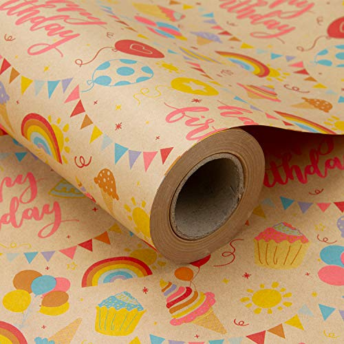 RUSPEPA Kraft Wrapping Paper Roll - Birthday Theme Design Great for Birthday, Party, Baby Shower Wrap - 24 inches X 100 feet