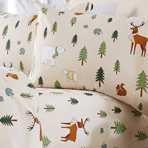Home Fashion Designs Stratton Collection Extra Soft Printed 100% Turkish Cotton Flannel Sheet Set. Warm, Cozy, Lightweight, Luxury Winter Bed Sheets. (Queen, Wildlife)