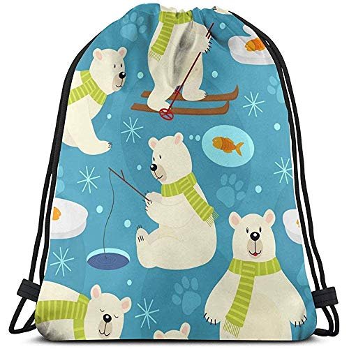 huatongxin Tote School Rucksack,Unisex Bolsa de Hombro,Bolsa de Gimnasio Ligera,Drawstring Backpack,Polar Bear Gym Sack Bag,Travel String Pull Bag,Sport Cinch Pack