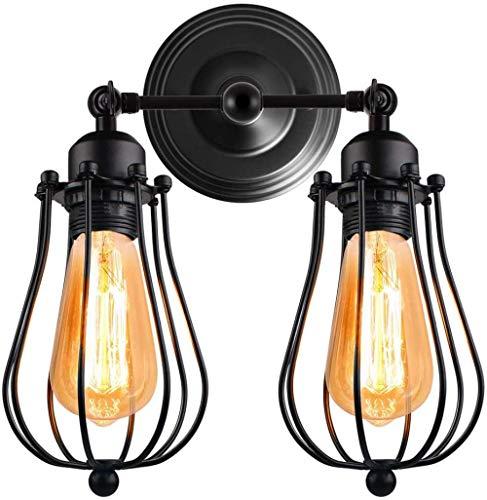 Lámpara de pared vintage 2 cabezas Apliques de pared industriales Zócalo ajustable Iluminación de pared Lámpara de pared de jaula de metal retro para pasillo Bar Restaurante Cocina Negro-2_Heads_Bla