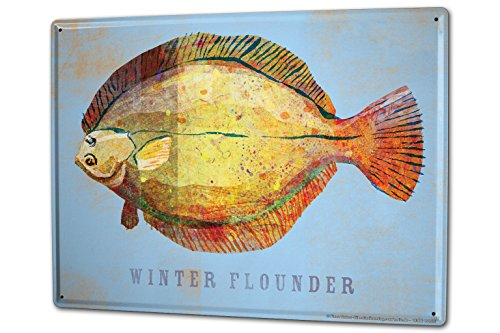 LEotiE SINCE 2004 Tin Sign Metal Plate Decorative Sign Home Decor Plaques Angler Home Winter flounder Fish Sport Fishing Deep Sea Metal Plate 8X12