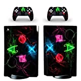 Whole Body Protective Vinyl Skin Decal Cover for Sony PS5 Playstation 5 Console Wrap Sticker Skins with Two Free Wireless DualSense Controller Decals (CD-ROM Edition, 12)