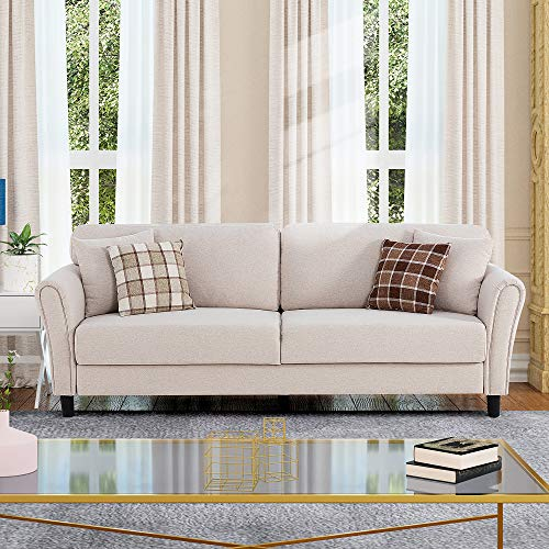 """Shintenchi 87"""" Modern Sofa Loveseat, Oversize Deep Seat Sofa, Loveseat Furniture with Hardwood Frame, Mid-Century Upholstered Couch for Living room, Bedroom, Apartment, Rounded Arms, Tool Free, White"""