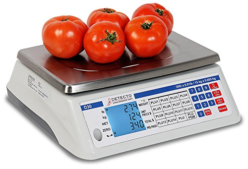 "Detecto D15 Price Computing Scale, Electronic, 13.4"" W x 13.4"" D, 15 lb. Capacity"