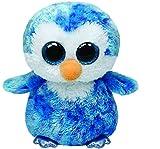 TY 37044 37044-Ice Cube Buddy-Pinguin mit Glitzeraugen, Plüschtier, groß, 24 cm, blau