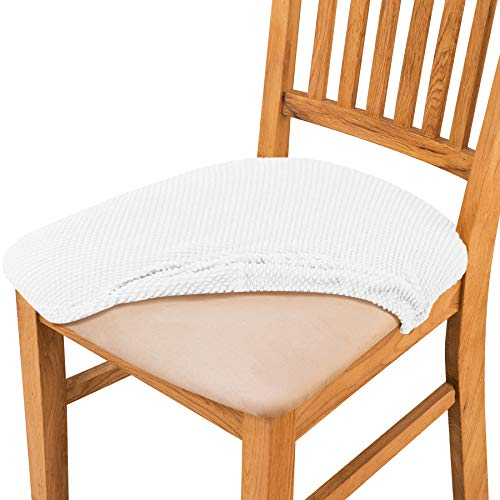 Subrtexsubrtex Dining Room Chair Seat Covers Stretch Jacquard Chair Cushion Covers Furniture Protector Set Of 2 With Ties Removable Washable For Dining Room Kitchen White Dailymail
