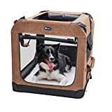Veehoo Folding Soft Dog Crate, 3-Door Pet Kennel for Crate-Training Dogs, 5 x Heavy-Weight Mesh Screen, 600D Cationic Oxford Fabric, Indoor & Outdoor Use, 36', Beige Coffee