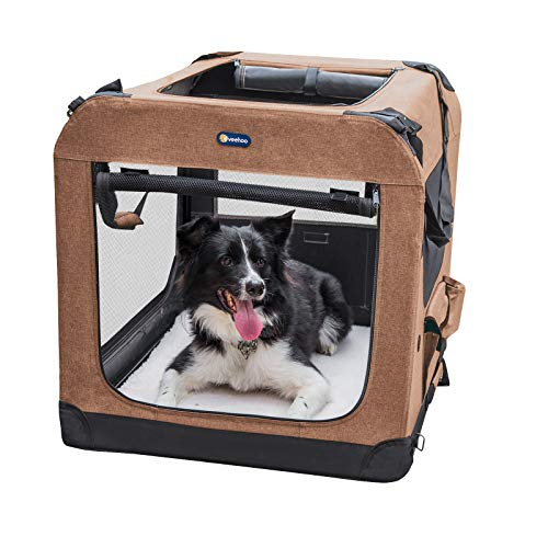 Veehoo Folding Soft Dog Crate, 3-Door Pet Kennel for Crate-Training Dogs, 5 x Heavy-Weight Mesh Screen, 600D Cationic Oxford Fabric, Indoor & Outdoor Use, 36', Brown