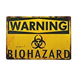 dingleiever- Warning Biohazard Hazard Sign Hazard Labels Novelty Metal Sign