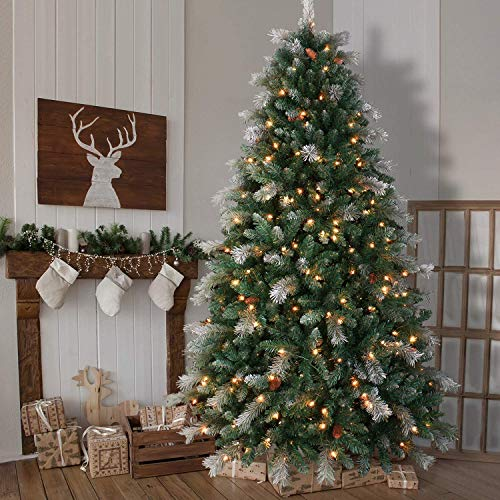 OasisCraft Pre-lit Snowy Aspen Spruce Christmas Tree 9 Foot & 800 Light, Flocked Artificial Christmas Tree Real Full with Lights, Pine Cone Decor