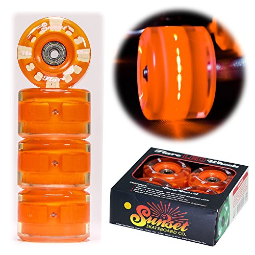 Sunset Skateboard Co. Orange 65mm 78a Round LED Light-Up Longboard Wheels (4-pk) with ABEC-9 Carbon Steel Bearings for Glow-In-The-Dark, All Ages & Skill Levels Skating Fun with No Batteries Required