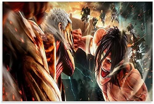 chuanglanja Lienzo Pintura Al Óleo 60 * 90cm Sin Marco Anime Posters Wallpaper Attack on Titans Arte Decorativo de Pared Carteles de Sala de Estar Dormitorio