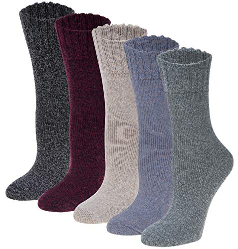 Pack of 5 Womens Winter Socks Warm Thick Knit Wool Soft Vintage Casual Crew Socks Gifts,Multi H