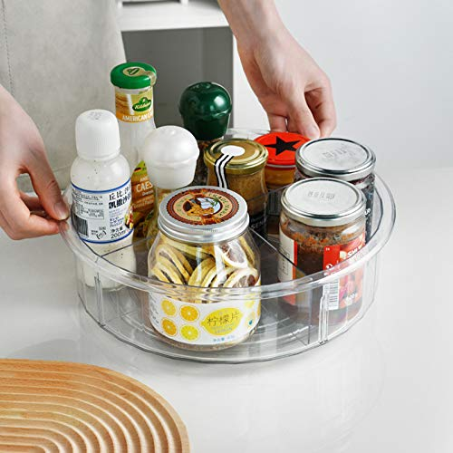 """Glaitc Drehbares Ablagetablett, geteiltes Aufbewahrungstablett, drehbares Tablett aus Kunststoff, """"Lazy Susan"""", Organizer, zur Aufbewahrung von Gewürzen, für Kühlschrank, Küchenschrank"""