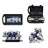 Dumbbell Set Weights Chrome Cast Iron Dumbbells Barbells 20Kg 30Kg With Carry Case