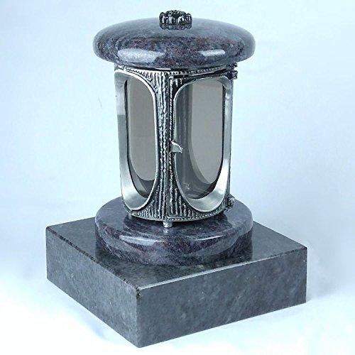 designgrab Alu Grablampe mit Granit Sockel 20x20x5 cm, aus Aluminium in Antikoptik und Granit Orion Blue/Vizac Blue