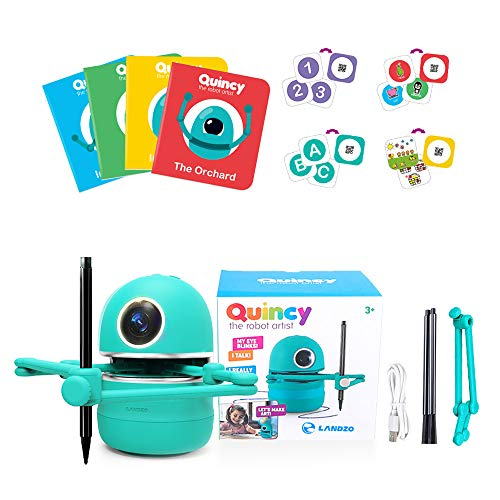 Kacsoo Learning Robot, Drawing Robot Educational Spelling Math Counting Draw Interactive Improve Creativity, Hand-on,4 Books 38 Cards and 3 Pens USB Rechargeable