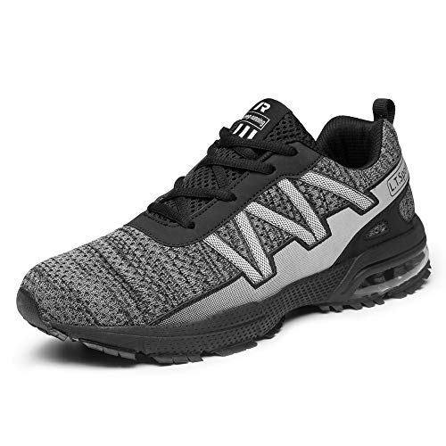 FITORY Scarpe da Ginnastica Uomo Donna Corsa Sportive Sneakers Basse Running Outdoor Respirabile Fitness Casual Grigio 36 EU