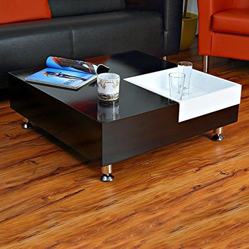 Directachat56 Table Basse modulable, 80 x 80 cm Noir/Blanc