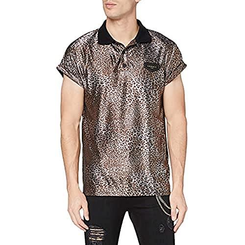 Gianni Kavanagh Leopard Savage Polo Camiseta, Multicolor, M para Hombre