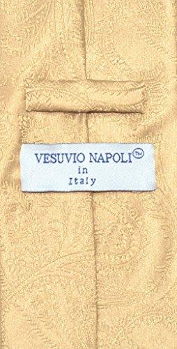 Vesuvio Napoli NeckTie GOLD Color Paisley Design Men's Neck Tie