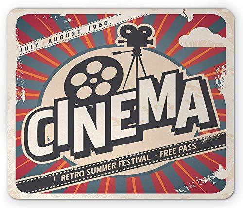 Vintage Mauspad, Retro Kinofilm Vintage Papier Textur Hollywood Stars Theme Image Print, Standardgröße Rechteck rutschfestes Gummi Mousepad, Ecru Braun Rot Grau