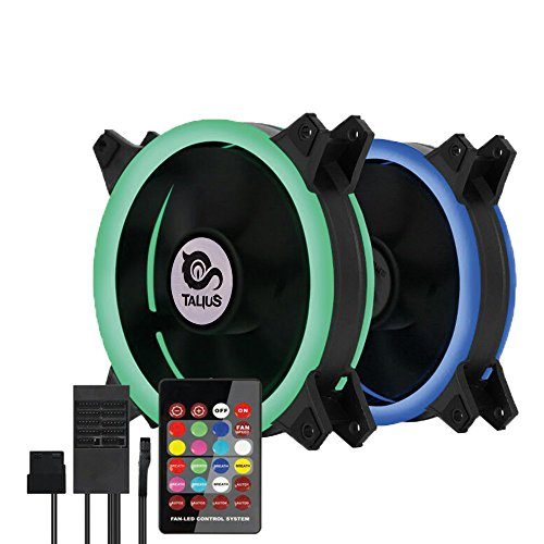 Talius Siroko - Kit de 2 Ventiladores Ring 12 cm RGB, Tira LED y centralita con Mando