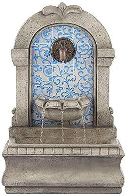 "John Timberland Manhasset 30 1/4"" High Stone and Blue Outdoor Floor Fountain"